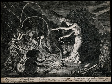 V0025851 A witch at her cauldron surrounded by beasts. Etching by J.
